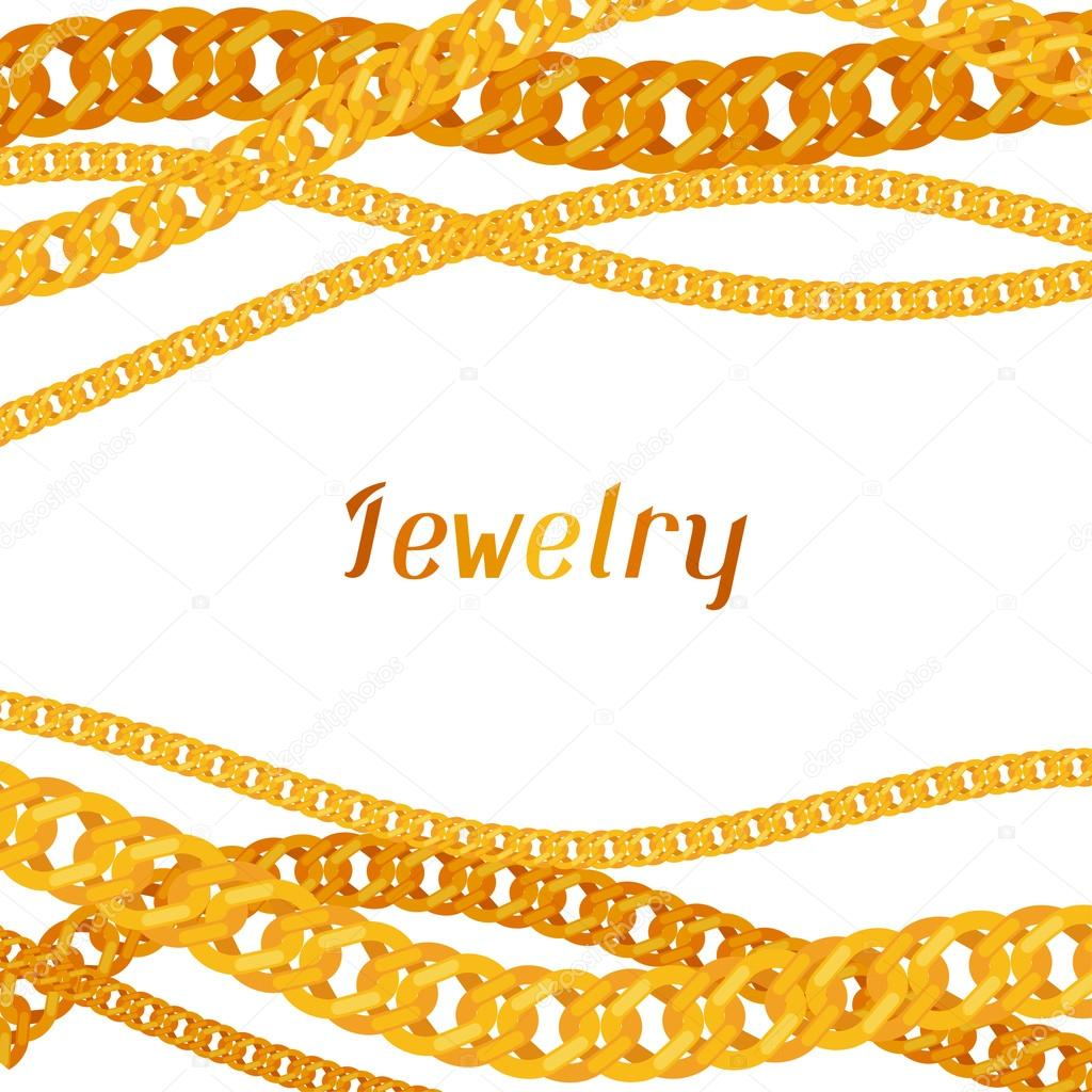 Background design with beautiful jewelry gold chains.