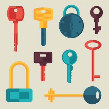 Locks and keys icons set in flat style.