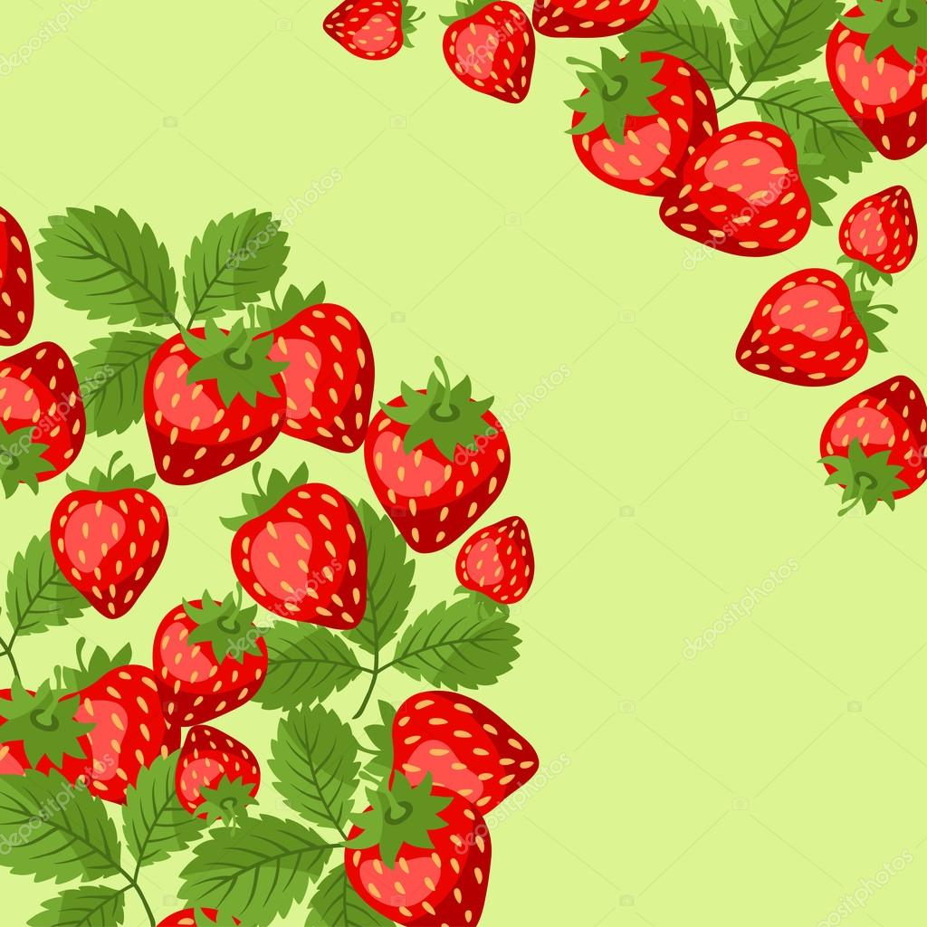 Nature background design with strawberries.