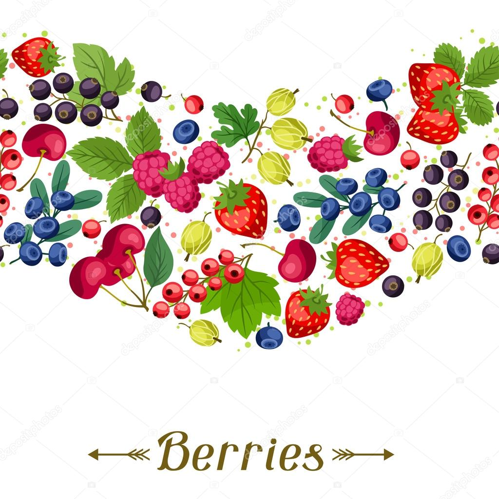 Seamless nature pattern with berries.