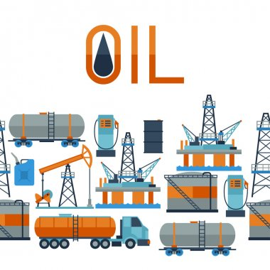 Industrial seamless pattern with oil and petrol icons.
