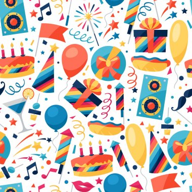 Celebration festive seamless pattern with party icons and objects clip art vector