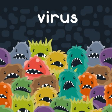 Background with little angry viruses, microbes and monsters stock vector