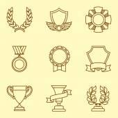 Trofeje a ocenění ikony v lineární stylu.