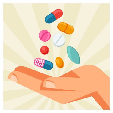 Illustration of hand holding various pills and capsules