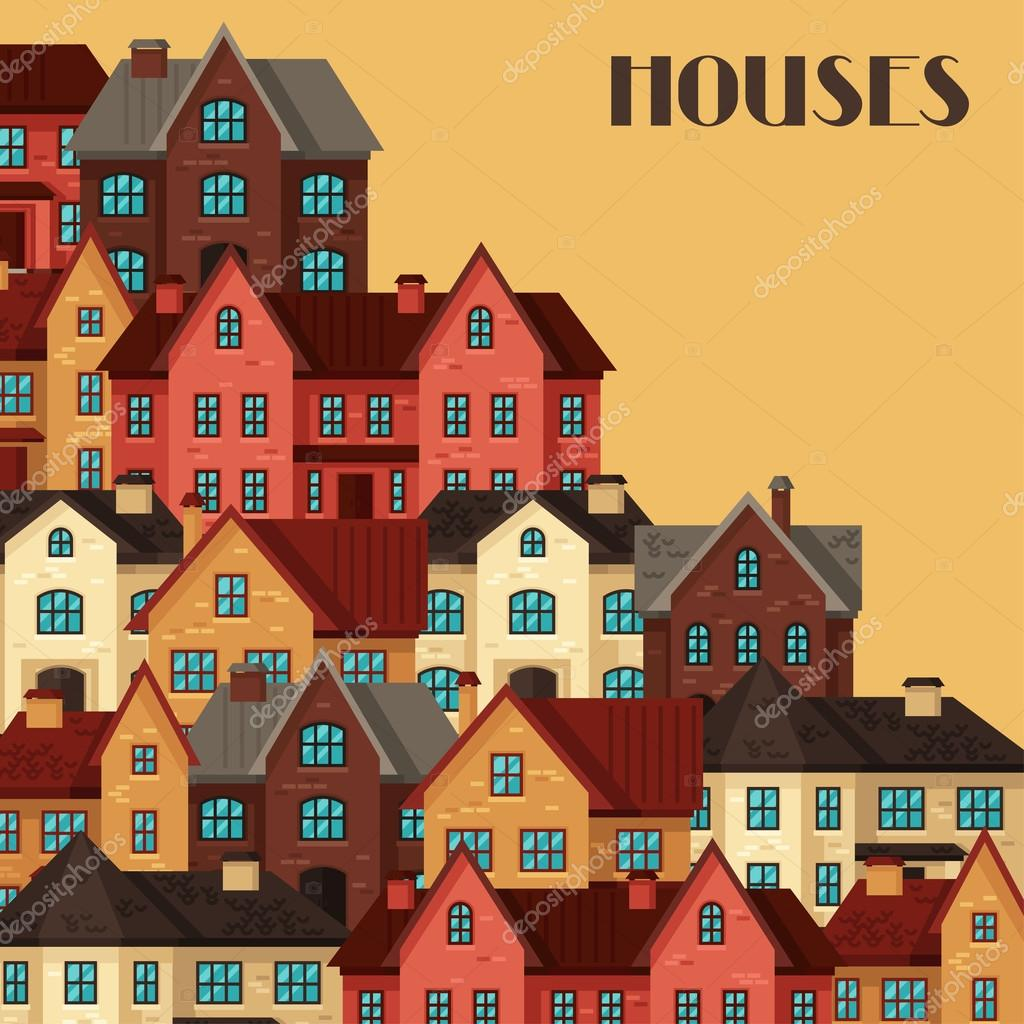 Stadt-Hintergrund-Design mit Hütten und Häuser — Stockvektor ...