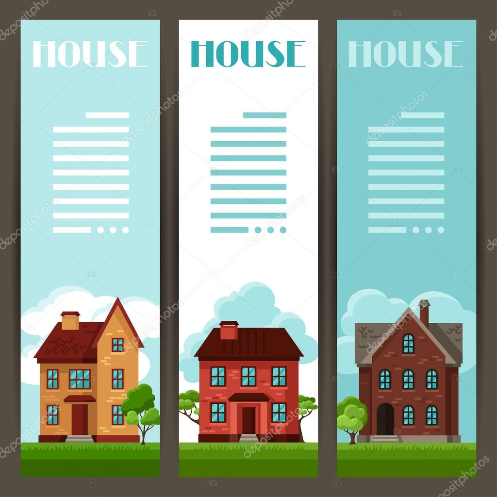 Town vertical banners design with cottages and houses