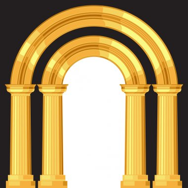 Doric realistic antique greek arch with columns