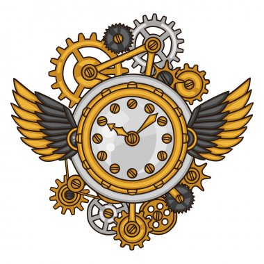 Steampunk clock collage of metal gears in doodle style