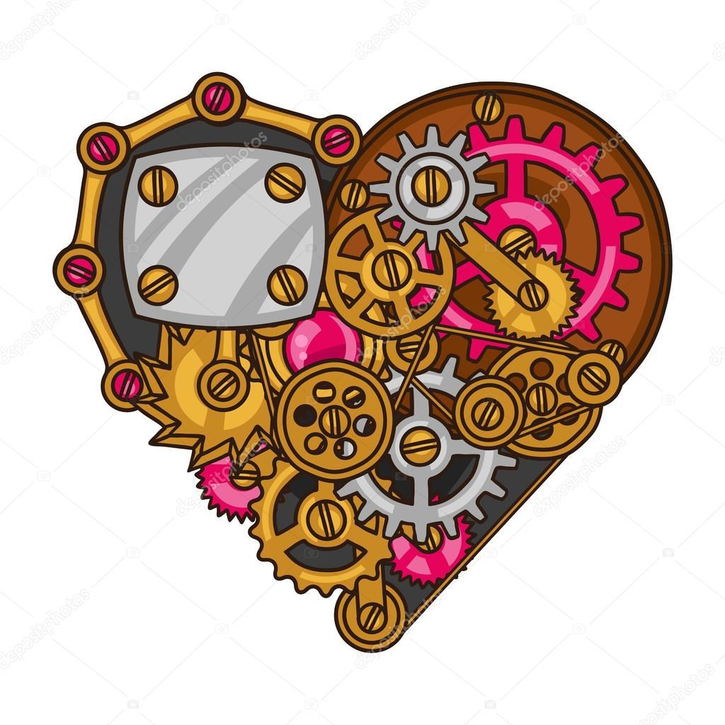 Coeur Steampunk collage de coeur steampunk d'engrenages en métal dans un style