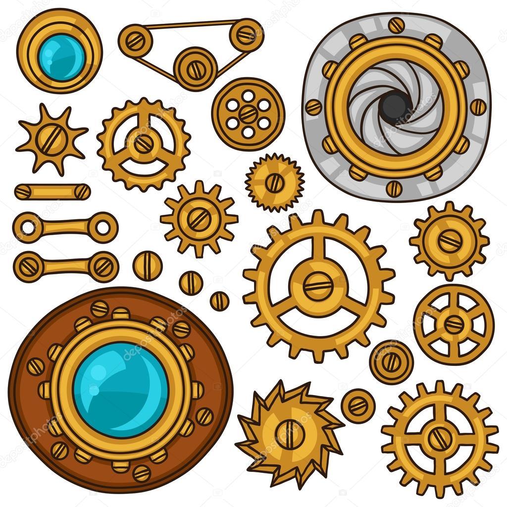 Set of steampunk gears, screws and cogwheels in doodle style