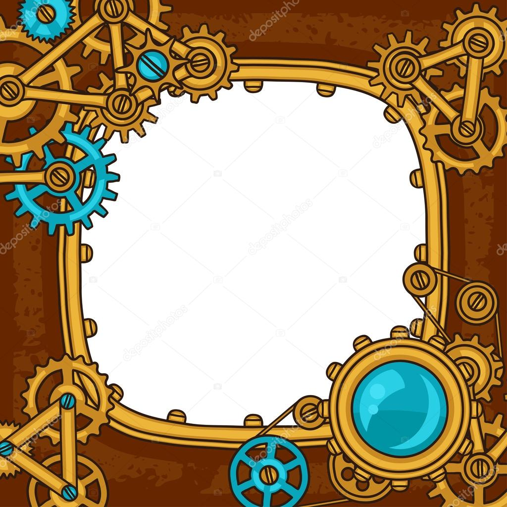 Steampunk frame collage of metal gears in doodle style — Stock ...