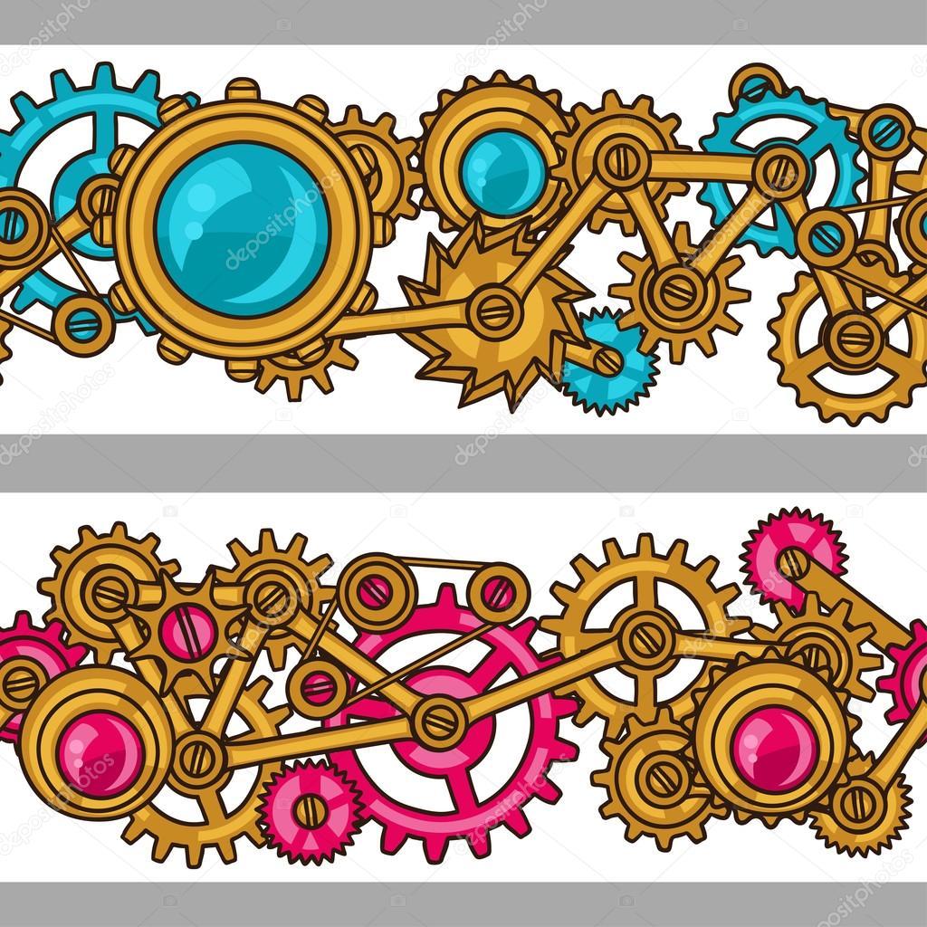 Steampunk seamless pattern of metal gears in doodle style