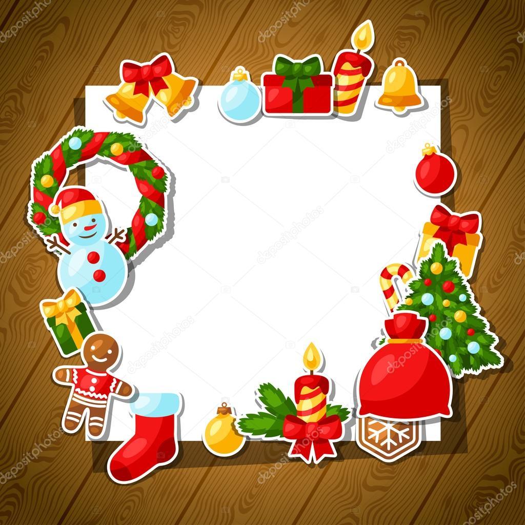 Feliz Navidad y feliz año nuevo plantilla de etiqueta para la ...