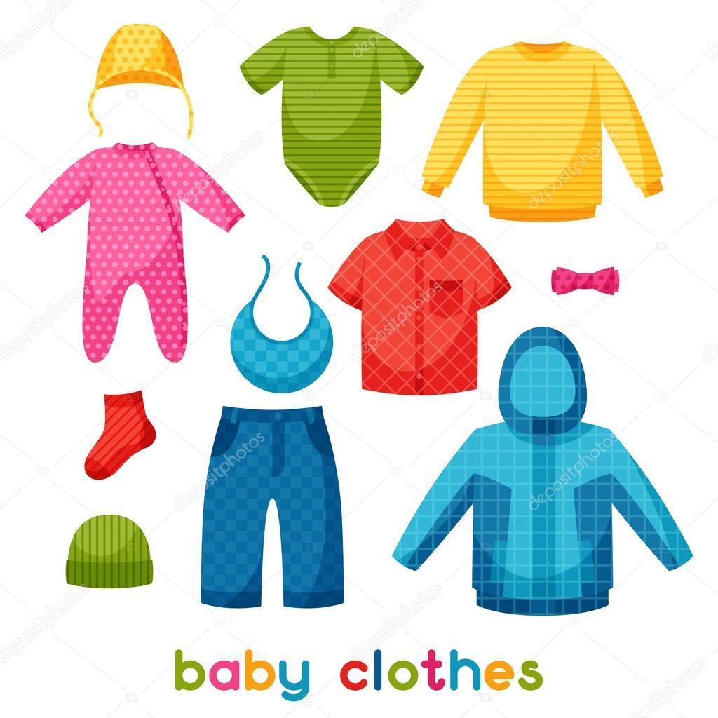 Insieme di articoli di abbigliamento per neonati e bambini — Vettoriale  Stock c3f3eb9b31c