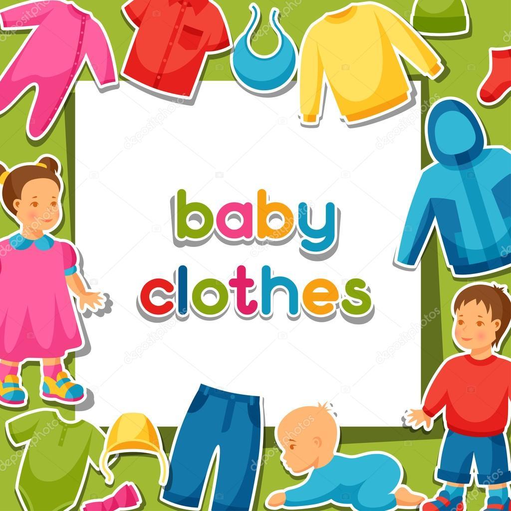 Дитячий одяг. Фон з предметів одягу для немовлят та дітей– стокова  ілюстрація 1c2370e94cc42
