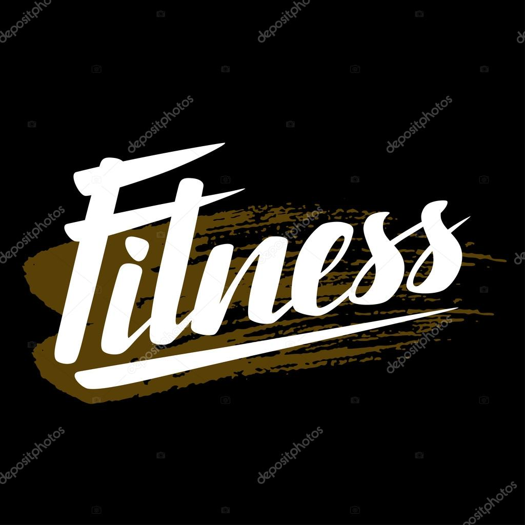 concepto de cartel de letras de fitness palabra