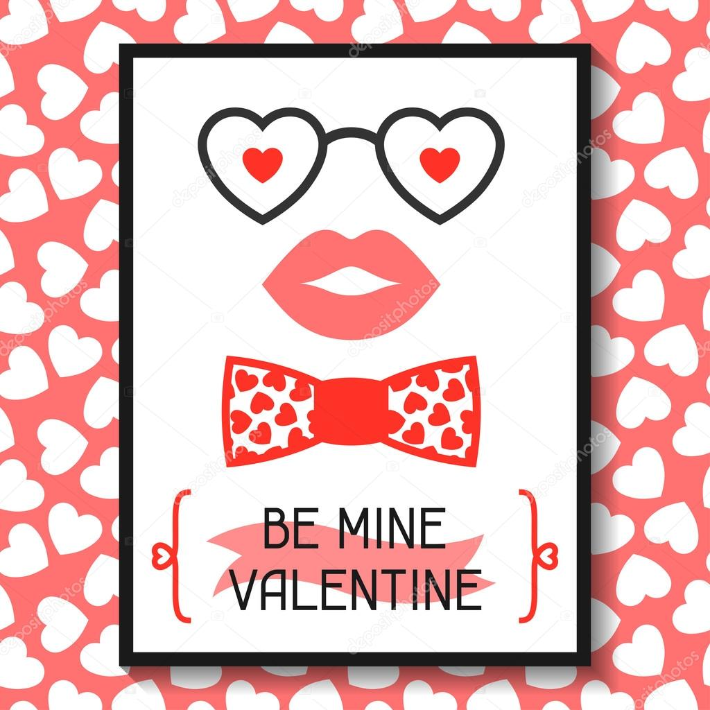 Happy valentines day greeting card hipster objects and love holiday happy valentines day greeting card hipster objects and love holiday symbols incomible vektr m4hsunfo