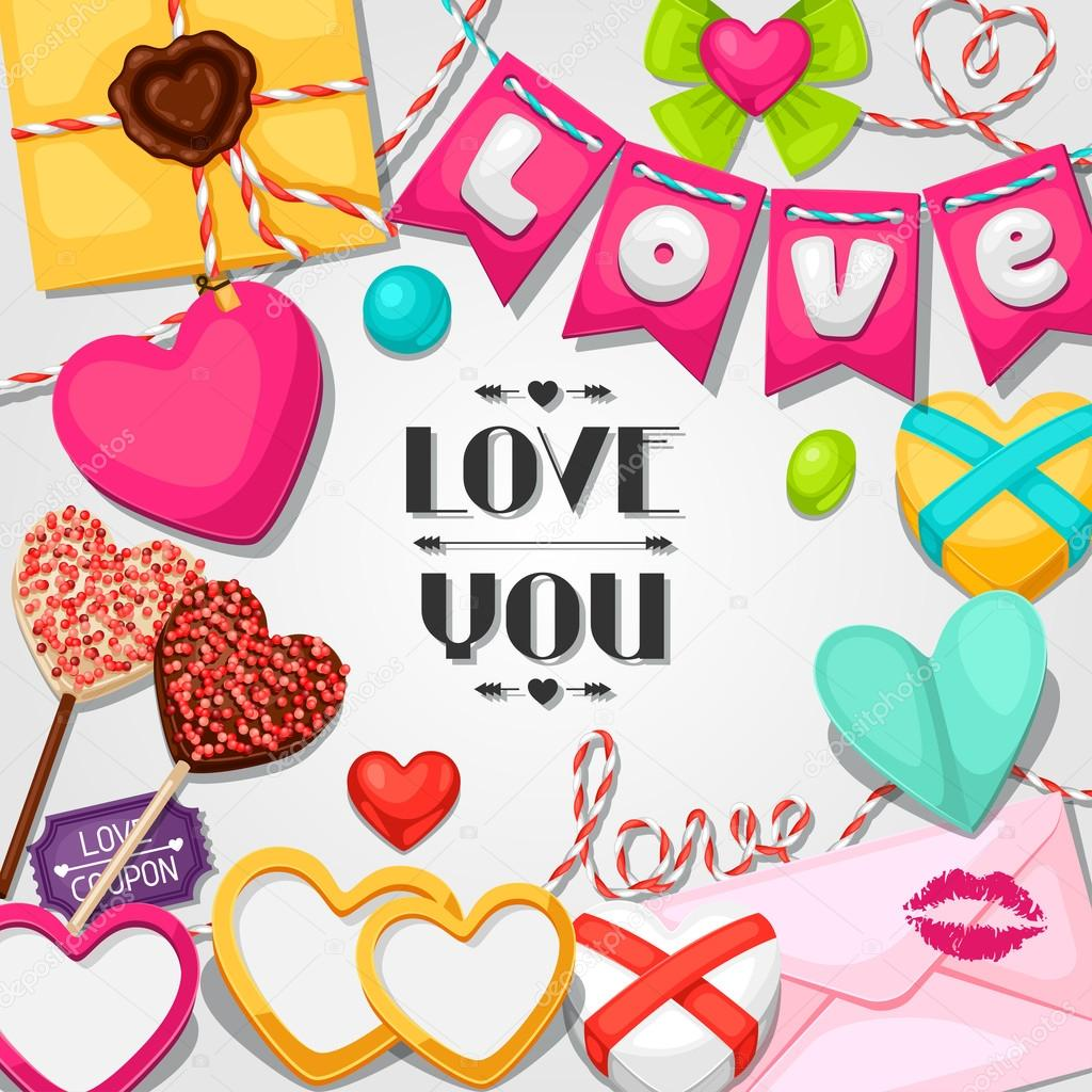 Greeting Card With Hearts Objects Decorations Concept Can Be Used