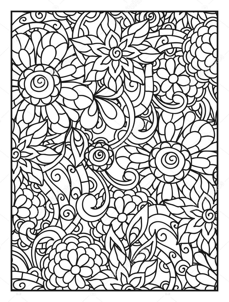 fond avec des fleurs de ligne pour adultes coloriage imprimer et dessin image vectorielle - Dessin Pour Adultes