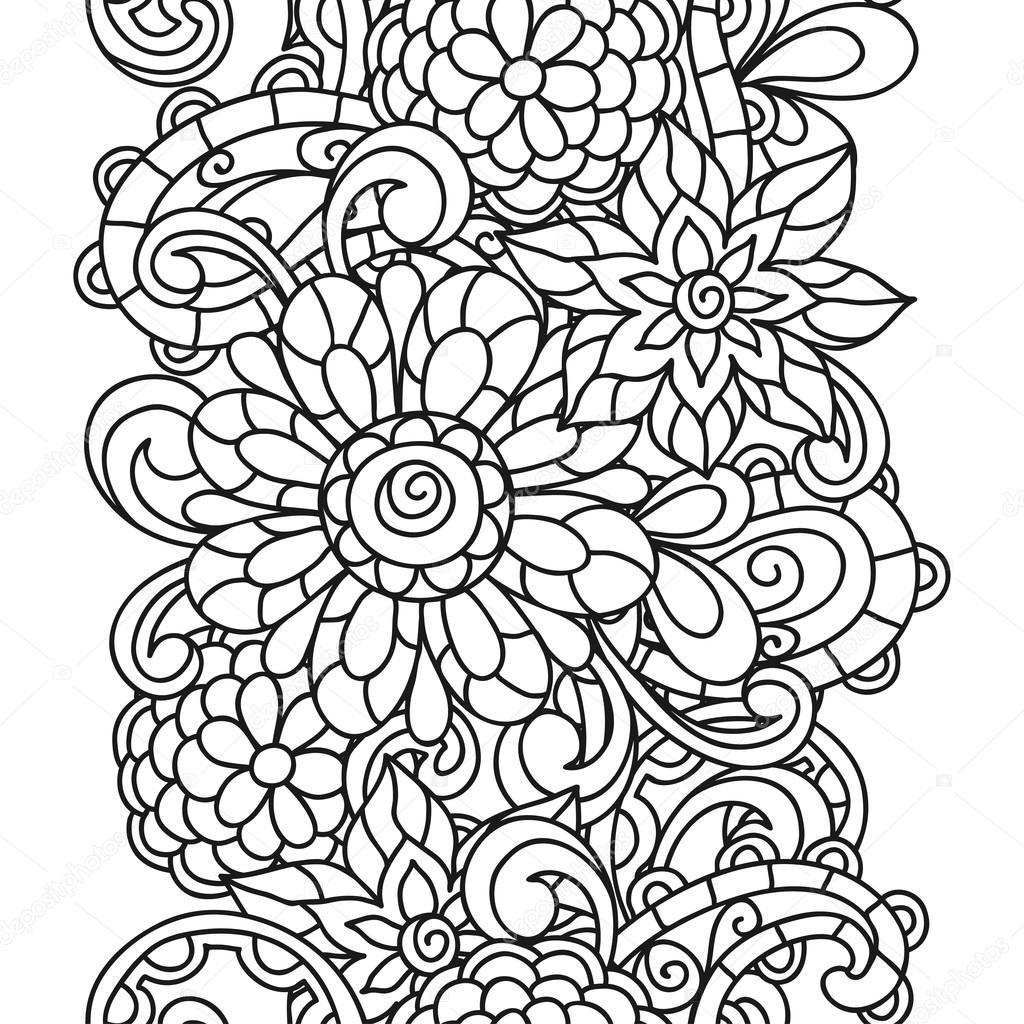modle nature transparente avec des fleurs de ligne pour adultes coloriage imprimer et dessin image - Dessin Pour Adultes