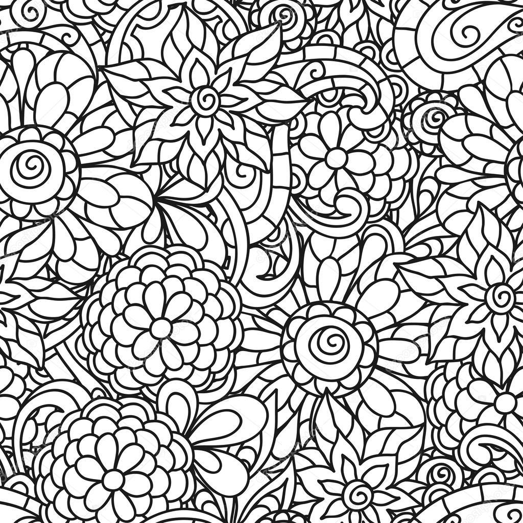 Kleurplaten Volwassen Bloemen.Naadloze Aard Patroon Met Lijn Bloemen Voor Volwassen Kleurplaat