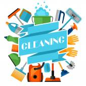 Fényképek Housekeeping background with cleaning icons. Image can be used on advertising booklets, banners, flayers, article, social media