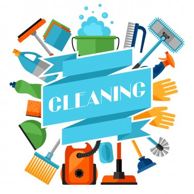 Housekeeping background with cleaning icons. Image can be used on advertising booklets, banners, flayers, article, social media