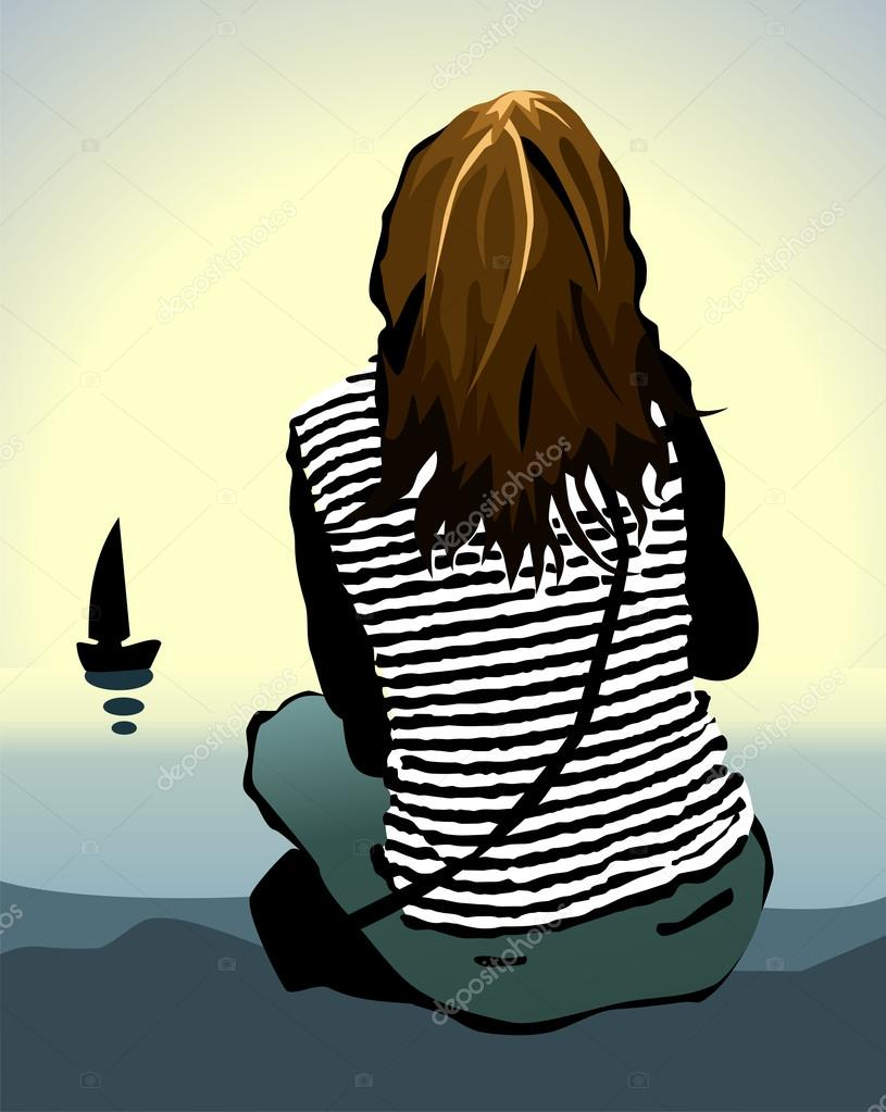 Alone Cartoon Girl ᐈ sad cartoons stock pictures, royalty free lonely girl
