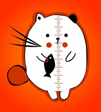 Baby height measure with funny kitten (scale 1:3) stock vector