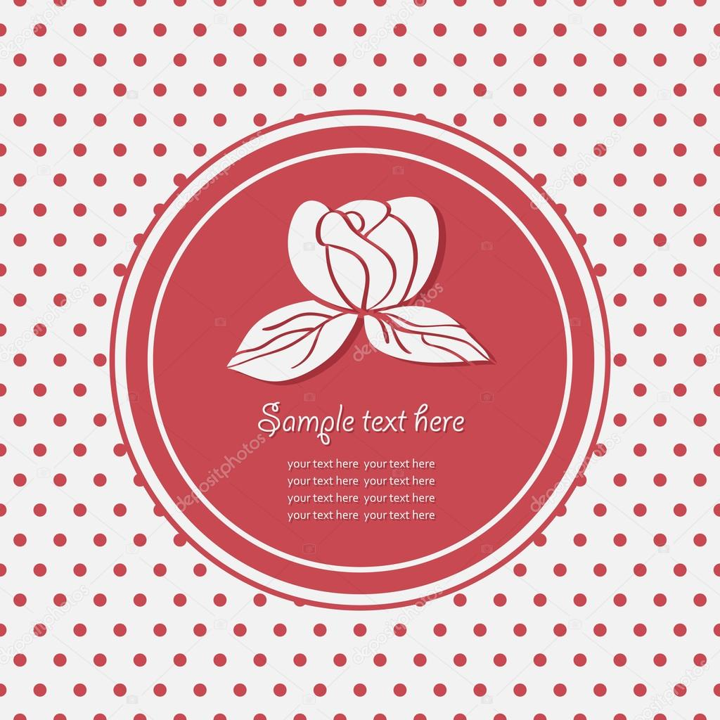 Rose flowers logo frame with polka dot pattern.