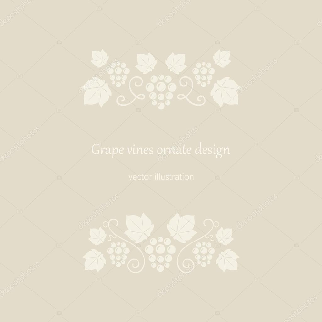 Marco adornado de vides de uva color beige — Archivo Imágenes ...