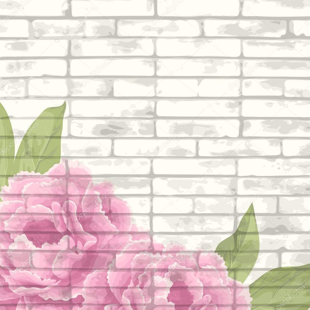 Vintage bricks background with peonies