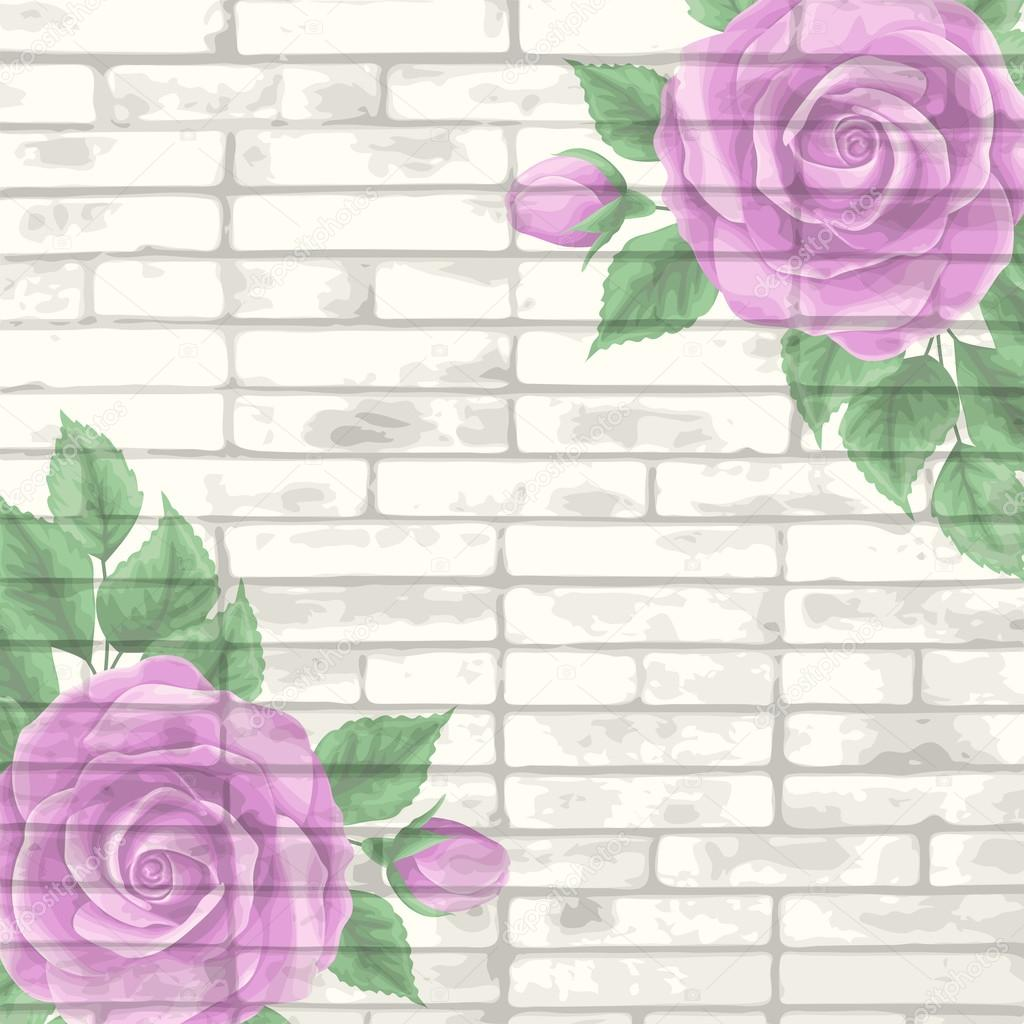 Vintage bricks background with roses