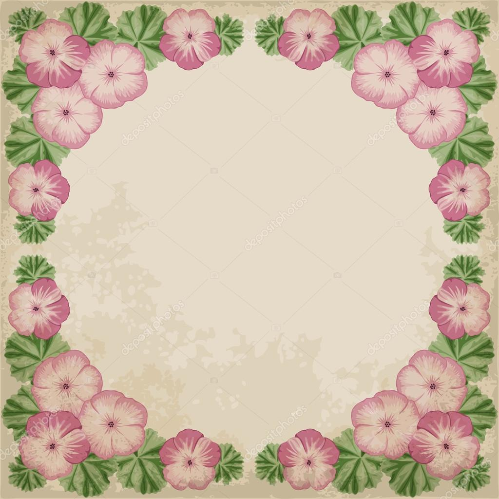 Old paper background with geranium