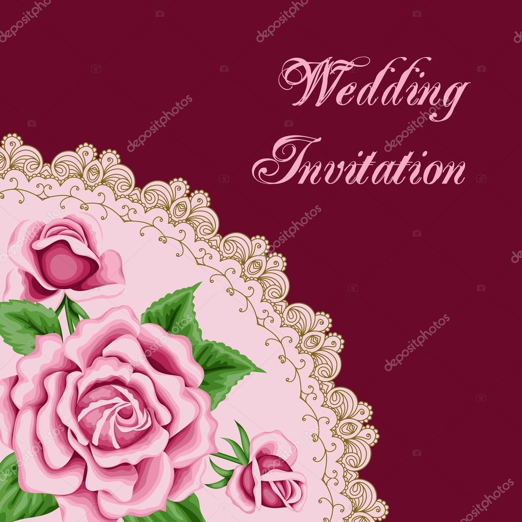 Vintage wedding invitation with roses — Stock Vector © NonikaStar ...
