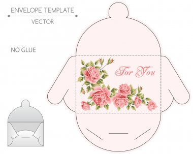 Vector envelope template with floral design. Die-stamping stock vector
