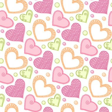 Seamless pattern with doodle stylized hearts on white background. Hand drawn vector illustration clip art vector