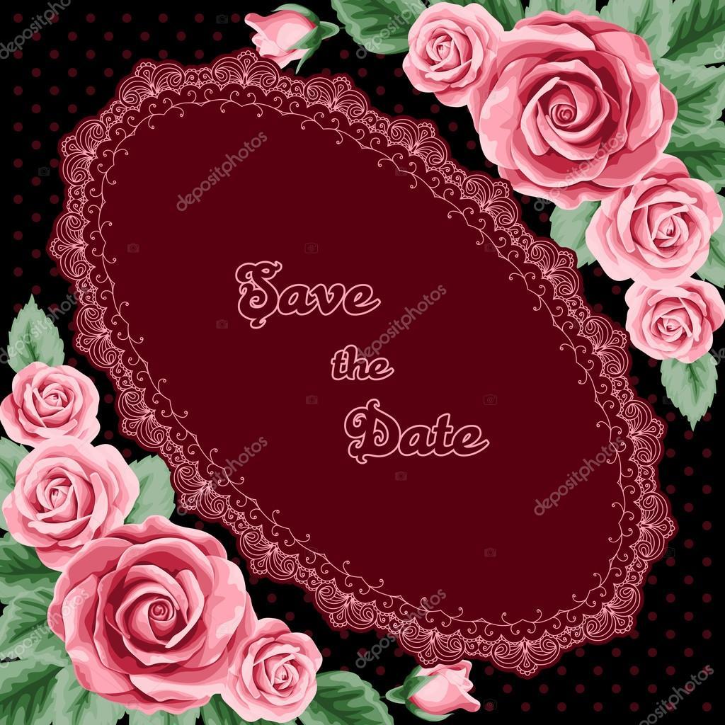 Vintage wedding invitation with roses — Stock Vector © NonikaStar ...