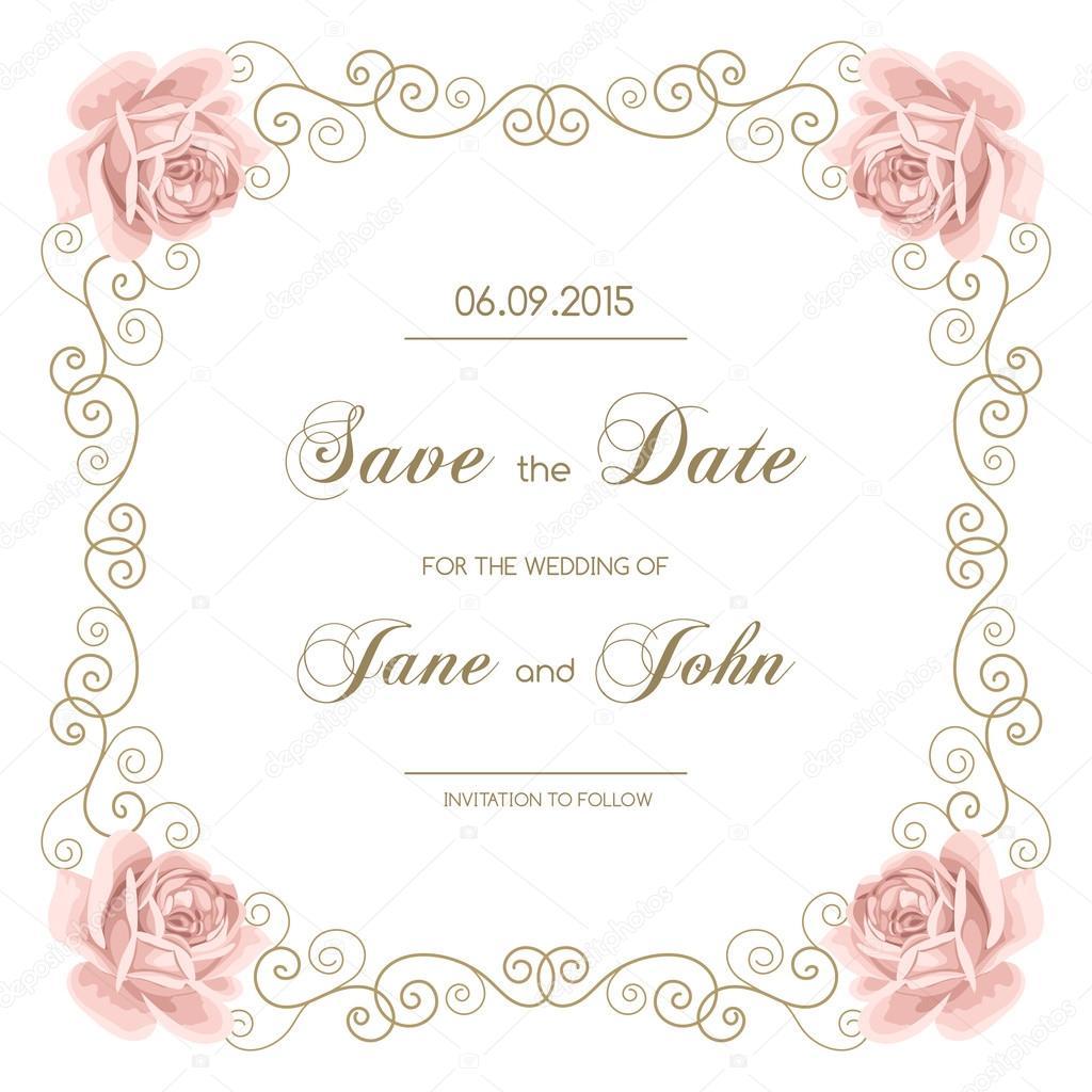 Invitación de boda vintage con rosas — Vector de stock © NonikaStar ...