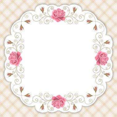 Gingham background with roses