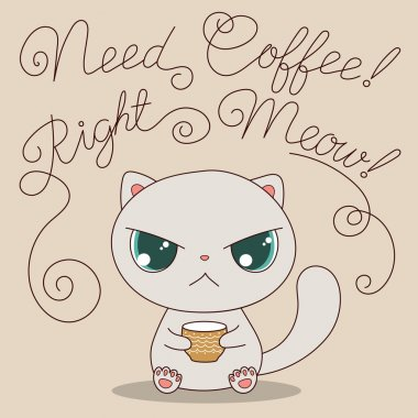 Cute cat with cup of coffee