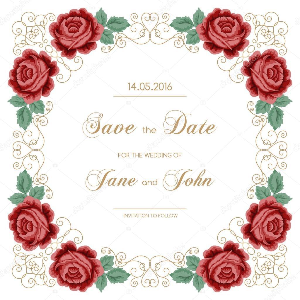 Jahrgang Hochzeitseinladung mit Rosen — Stockvektor © NonikaStar ...