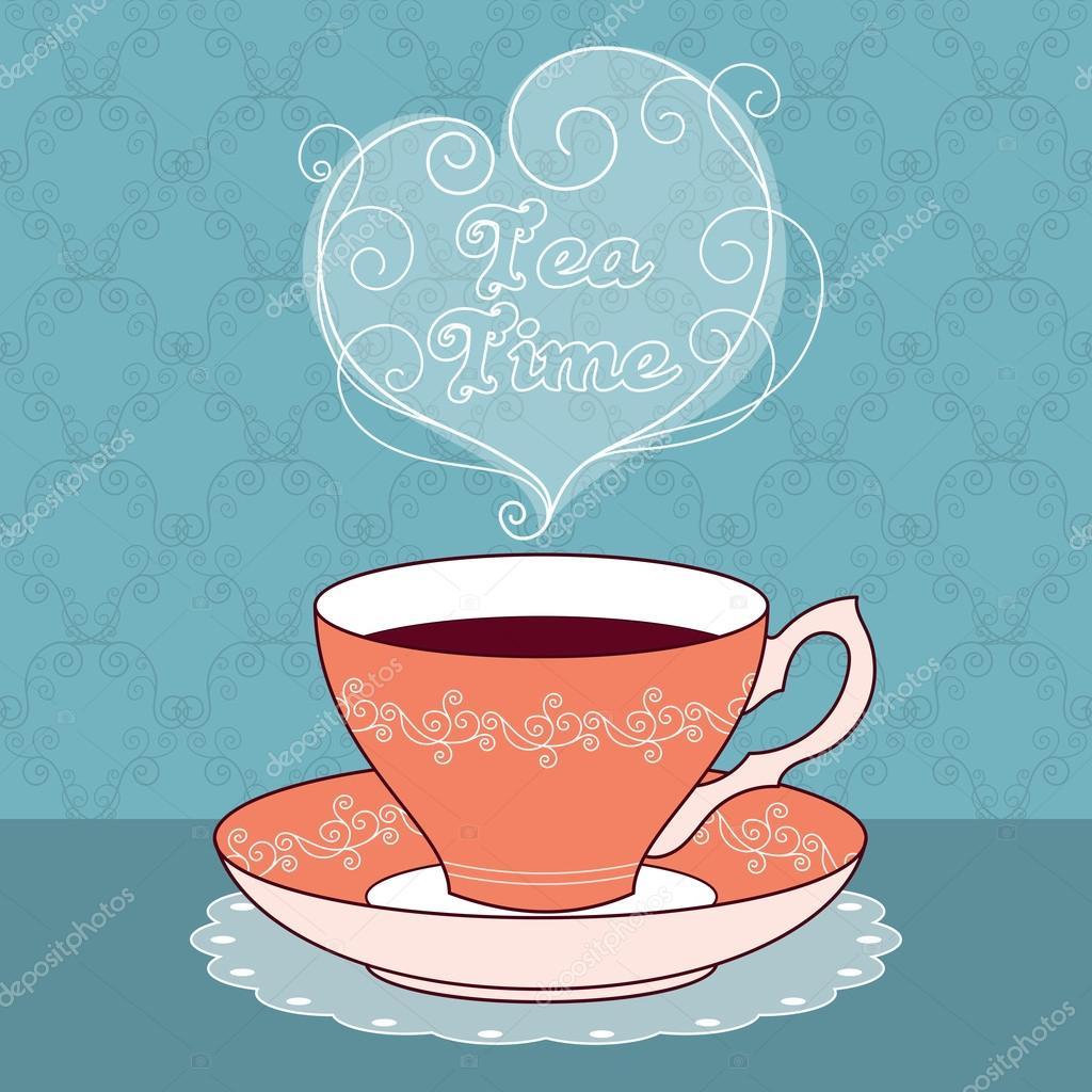 tarjeta de tiempo de té — Archivo Imágenes Vectoriales © NonikaStar ...