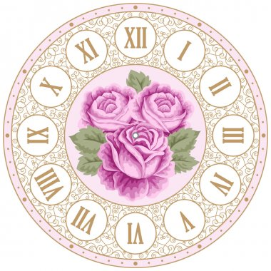 Vintage clock face with roses