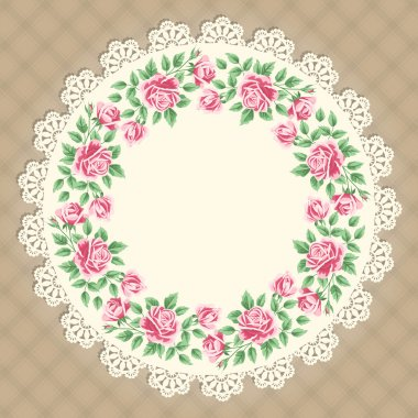 Vintage card with lace doily