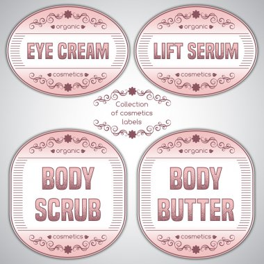 Collection of cosmetics labels