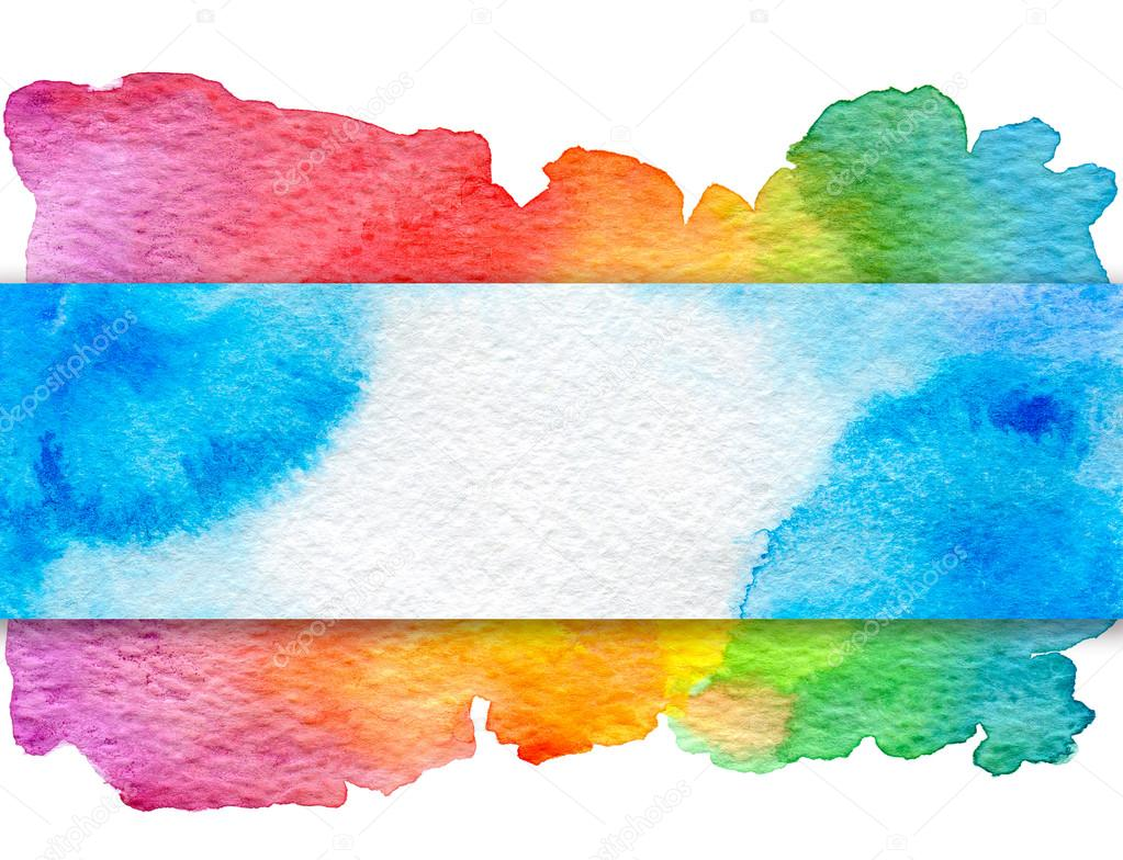 Free Photo Watercolors Rainbow Colors Lilac: Background With Hand Drawn Watercolor Elements. Blue