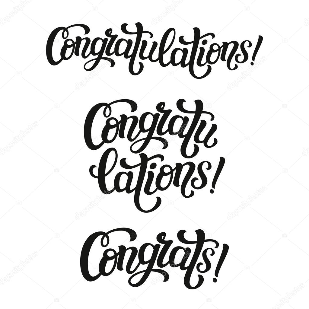 hand lettering typography word congratulations stock vector