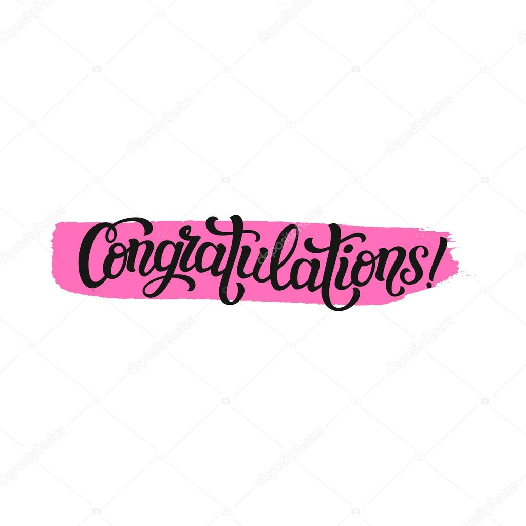 congratulations typography lettering template stock vector